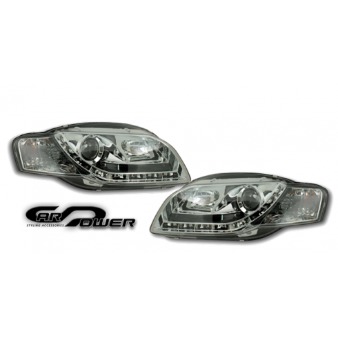 AUDI A4 '04-'07 DRL LOOK HEADLIGHTS - CHROME