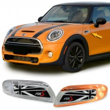 MINI COOPER F56 '13-ON UNION JACK FLAG LED SIDEMARKERS - BLACK/WHITE