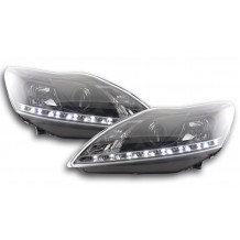 FORD FOCUS '08-'11 DRL LOOK HEADLIGHTS - BLACK