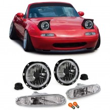 MAZDA MX-5 NA '90-'98  ANGEL EYES HEADLIGHTS + CLEAR BUMPER LIGHTS