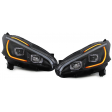 PEUGEOT 208 '12-ON LED LIGHTBAR HEADLIGHTS WITH LIGHTBAR INDICATOR - BLACK