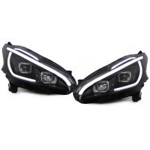 PEUGEOT 208 '12-ON LED LIGHTBAR HEADLIGHTS WITH LIGHTBAR INDICATOR - BLACK