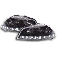 SEAT IBIZA '02-'08 DRL LOOK HEADLIGHTS - BLACK