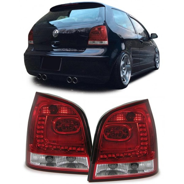 Vw Polo 9n3 05 09 Led Tail Lights Red Clear