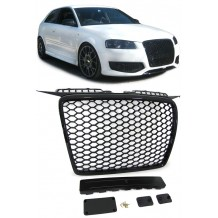 AUDI A3 '05-'08 GLOSSY BADGELESS GRILL HONEYCOMB