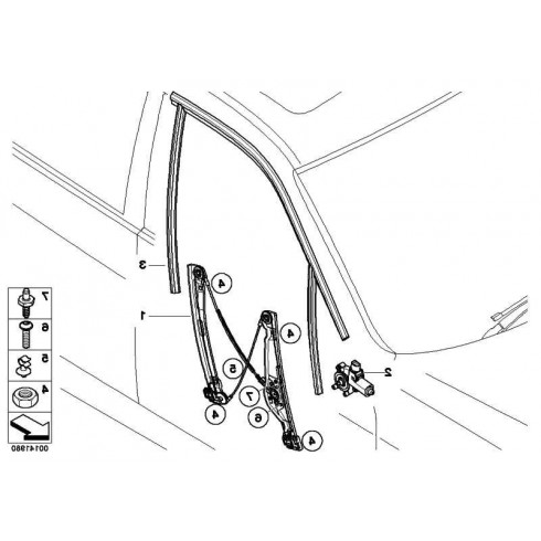 BMW SERIES 3 (E90/91) SDN 05-08 FRONT PASSENGER RIGHT ELECTRIC WINDOW REGULATOR WITHOUT/MOTOR