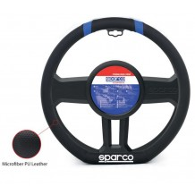 STEERING WHEEL COVER BLACK- BLUE  LEATHER 36-37CM SPARCO