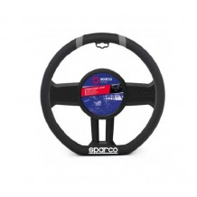 STEERING WHEEL COVER BLACK- GRAY LEATHER 36-37CM SPARCO