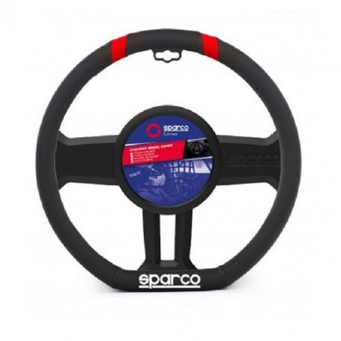 STEERING WHEEL COVER BLACK- RED LEATHER 36-37CM SPARCO
