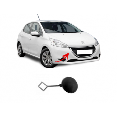 PEUGEOT 208 12-15 NEW FRONT BUMPER TOW HOOK EYE COVER CAP FOR PAINTING