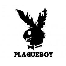 """""""PLAGUEBOY"""" STICKER - WHITE"""
