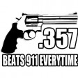 """357 BEATS 911..."" STICKER - WHITE"
