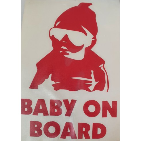 """BABY ON BOARD"" - STICKER - RED"