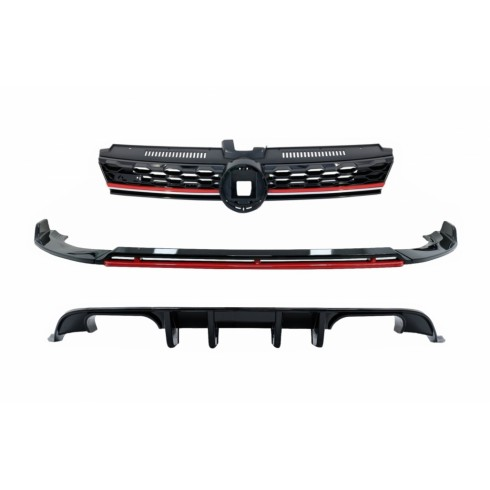 VW GOLF 7.5 FACELIFT (2017-2020) PIANO BLACK & RED  FRONT BUMPER LIP EXTENSION SPOILER WITH CENTRAL BADGELESS GRILLE AND REAR DIFFUSER